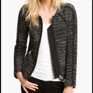 IRO tweed front zip jacket coat